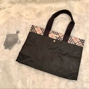 Burberry London Blue Label Black and Plaid Tote